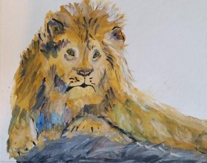 Gouache Lion